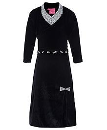 Kittens Halter Neck Long Dress With Shrug Black - Studded Diamonds