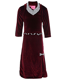 Kittens Halter Neck Long Dress With Shrug Maroon - Studded Diamonds