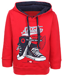 Gini & Jony Full Sleeves Hooded Sweatshirt - Athletic Print