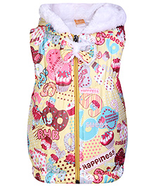 Little Kangaroos Sleeveless Quilted Jacket With Plush Hood - Yellow
