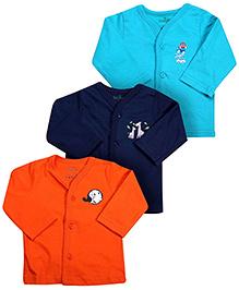 Babyhug Full Sleeves Vests Set Of 3 - Aqua Navy And Orange