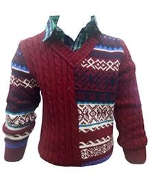 Wonderland Full Sleeves Shirt Style Sweater - Maroon