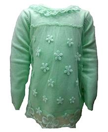 Wonderland Net Detailing Sweater - Ruffled Neck Line