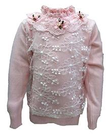 Wonderland Net Detailing Sweater - Yoke With Floral Motif