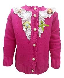 Wonderland Front Open Sweater - Net Detailing With Floral Motifs