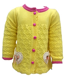 Wonderland Front Open Sweater - Heart With Bow Motif
