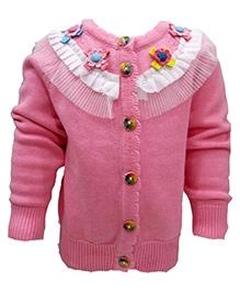 Wonderland Front Open Sweater - Net Yoke With Floral Motifs
