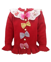 Wonderland Front Open Sweater - Bow Applique