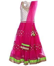 Doll Sleeveless Choli And Lehenga With Dupatta - Embroidered