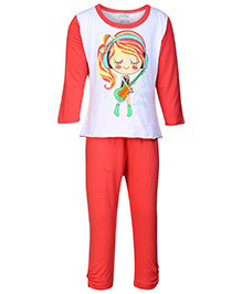 Babyhug Full Sleeves Night Suit Printed - Red And White