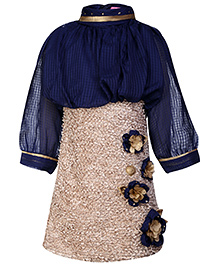 Kittens Full Sleeves Party Wear Frock Navy Blue And Fawn - Floral Applique
