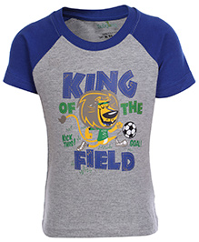 Babyhug Short Sleeves Printed T-Shirt - Blue And Grey