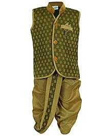 Babyhug Sleeveless Kurta And Dhoti Set - Golden Thread Work