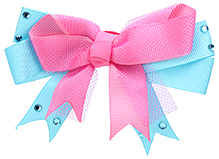 Stol'n Bow Style Hair Clip With Studded Detail - Sky Blue And Pink