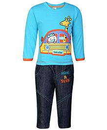 Cucumber Full Sleeves T-Shirt And Denim Pant - Aqua Blue - 0 To 3 Months