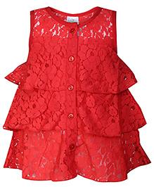 Babyhug Frock Sleeveless Red - Floral Net Pattern