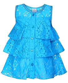 Babyhug Frock Sleeveless - Floral Net Pattern