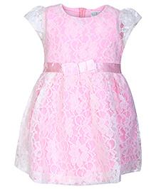 Babyhug Frock Short Sleeves - Floral Net Design