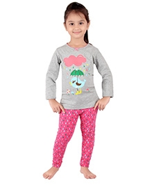 punkster Full Sleeves Night Suit - Grey And Pink