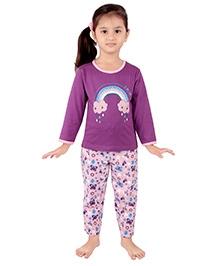 punkster Full Sleeves Night Suit Purple - Rainbow Print