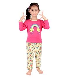 punkster Full Sleeves Night Suit Pink - Rainbow Print