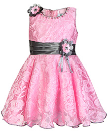 Babyhug Sleeveless Party Dress - Floral Applique And Stone Work