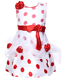 Babyhug Sleeves Party Frock - Floral Applique