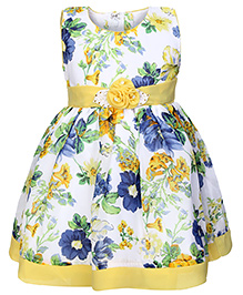 Babyhug Sleeveless Party Frock - Floral Print