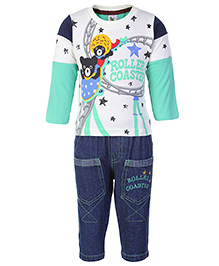 Cucumber Full Sleeves Top And Jeans Set - Roller Coaster Print - 0 To 3 Months