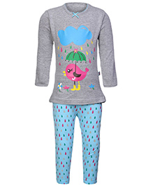 punkster Full Sleeves Night Suit - Grey And Blue