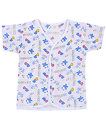 Babyhug Half Sleeves Front Open Vest - Teddy Print