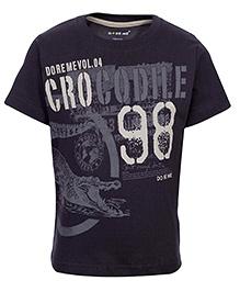 Doreme Half Sleeves T-Shirt Dark Grey - Crocodile Print