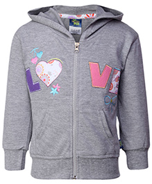 Cucu Fun Full Sleeves Hooded Jacket - Grey