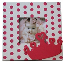 Fly Frog Photo Frame - Pink Dots