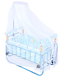 Fab N Funky Baby Swinging Cradle With Mosquito Net - Blue