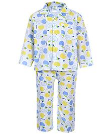 Babyhug Front Open Night Suit - Apple Print
