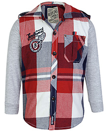 Ruff Full Hooded Shirt With Full Sleeves T-Shirt - Red