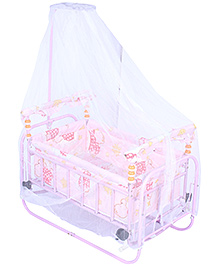 Fab N Funky Baby Swinging Cradle With Mosquito Net - Pink