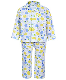 Babyhug Front Open Night Suit - Apple Print