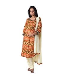 Morph Maternity Orange Kameez With Beige Salwar Dupatta