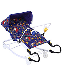 Infanto Purpose Rocker Teddy And Doted Print - Blue
