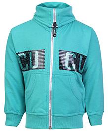 Cucu Fun Full Sleeves High Neck Jacket Green - Sequin Work