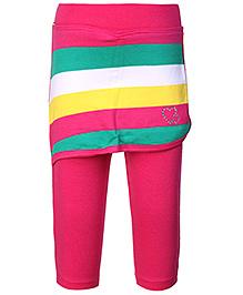 Babyhug Leggings With Short Skirt Pink - Stripes
