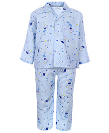 Babyhug Front Open Night Suit - Teddy Print