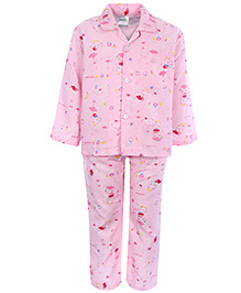 Babyhug Front Open Night Suit - Teddy Print