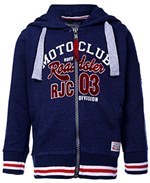 Ruff Full Sleeves Hooded Sweatshirt Navy Blue - Printed