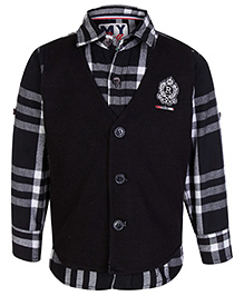 Little Bull Full Sleeves Shirt And Waistcoat - Black