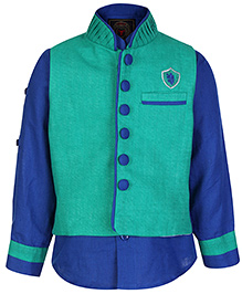 Little Bull Full Sleeves Shirt And Waistcoat Combo - Embroidered Logo