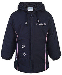 Babyhug Hooded Jacket Full Sleeves - Navy Blue