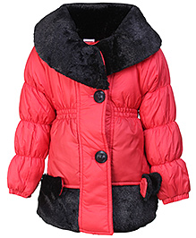 Babyhug Full Sleeves Jacket - Red And Black